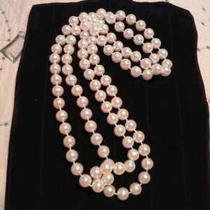 """Jewelry - 46"""" Faux Round Pearl Bead Necklace #1"""